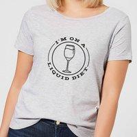 Liquid Diet Wine Women's T-Shirt - Grey - XXL - Grey - Alcohol Gifts