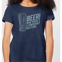 Beershield Beer Temporary Solution Women's T-Shirt - Navy - XXL - Navy - Beer Gifts