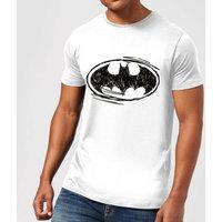 DC Comics Batman Sketch Logo T-Shirt in White - 5XL