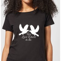 Two Love Doves Women's T-Shirt - Black - M - Black