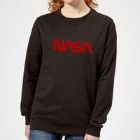 NASA Worm Red Logotype Women's Sweatshirt - Black - L - Black