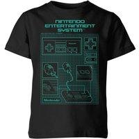 T-Shirt Nintendo NES Controller Blueprint - Nero - Bambini - 3-4 Anni - Nero