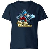 T-Shirt Nintendo Super Mario Mario Merry Christmas Snowball Kid's - Navy - 5-6 Anni - Blu Navy
