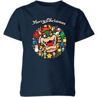 T-Shirt Nintendo Super Mario Bowser Merry Christmas Wreath Kid's - Navy - 3-4 Anni - Blu Navy