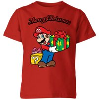 T-Shirt Nintendo Super Mario Merry Christmas Present Kid's - Rosso - 7-8 Anni - Rosso