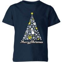 Nintendo Super Mario White Christmas Merry Christmas Kid's T-Shirt - Navy - 9-10 Years - Navy
