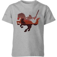 Nintendo The Legend Of Zelda Horse Silhouette Kid's T-Shirt - Grey - 11-12 Years - Grey - Horse Gifts
