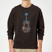 Coco Guitar Pattern Sweatshirt - Black - L - Black - Music Gifts
