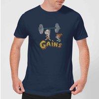 The Flintstones Distressed Bam Bam Gains Men's T-Shirt - Navy - S