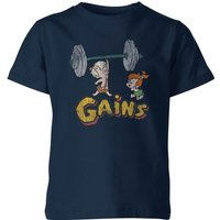 The Flintstones Distressed Bam Bam Gains Kids' T-Shirt - Navy - 9-10 Years - Navy
