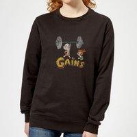 The Flintstones Distressed Bam Bam Gains Women's Sweatshirt - Black - XXL - Black
