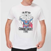DC Originals Superman Commitment Type Men's T-Shirt - White - XL - White - Superman Gifts