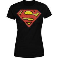 DC Originals Official Superman Crackle Logo Women's T-Shirt - Black - XXL - Black - Superhero Gifts
