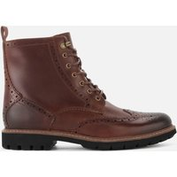 Clarks Mens Batcombe Lord Leather Brogue Lace Up Boots - Dark Tan - UK 8
