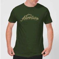 Adventure Awaits The Brave Men's T-Shirt - Forest Green - XL - Forest Green