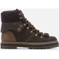 See By Chloe Women's Suede/Shearling Lined Hiking Styled Boots - Graphite/Natural - UK 6