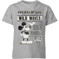 Disney Retro Poster Wild Waves Kids' T-Shirt - Grey - 9-10 Years - Grey - Poster Gifts