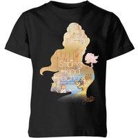 Disney Princess Filled Silhouette Belle Kids' T-Shirt - Black - 9-10 Years - Black