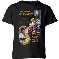 Disney Disney Princess Cinderella Retro Poster Kinder T-Shirt - Schwarz - 7-8 Jahre - Schwarz
