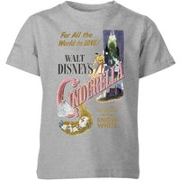Disney Disney Princess Cinderella Retro Poster Kids' T-Shirt - Grey - 3-4 Years - Grey