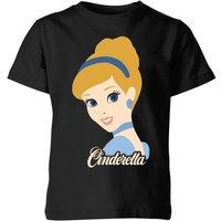 Disney Princess Colour Silhouette Cinderella Kids' T-Shirt - Black - 7-8 Years - Black