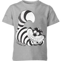 Disney Alice In Wonderland Cheshire Cat Mono Kids' T-Shirt - Grey - 7-8 Years - Grey - Disney Gifts