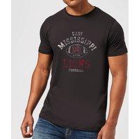 East Mississippi Community College Lions Football Distressed Men's T-Shirt - Black - 4XL - Black