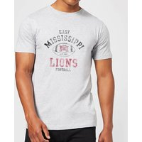 East Mississippi Community College Lions Distressed Football Mens T-Shirt - Grey - XL - Grey