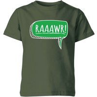 Raaawr Kids' T-Shirt - Forest Green - 3-4 Years - Forest Green - Green Gifts