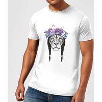 Balazs Solti Lion And Flowers Mens T-Shirt - White - 3XL - White