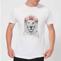 Balazs Solti Lion And Flowers Mens T-Shirt - White - S - White
