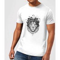 Balazs Solti Lion And Flowers Mens T-Shirt - White - XXL - White