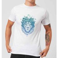 Balazs Solti Lion And Butterflies Men's T-Shirt - White - XXL - White