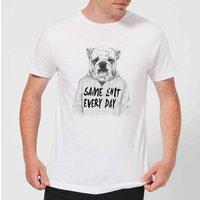 Balazs Solti Same Shit Every Day Mens T-Shirt - White - 3XL - White