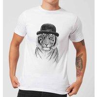 Balazs Solti Tiger In A Hat Mens T-Shirt - White - XXL - White