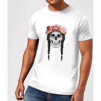 Balazs Solti Skull And Flowers Men's T-Shirt - White - 5XL - White