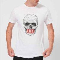 Balazs Solti Life Skull Mens T-Shirt - White - 4XL - White