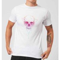 Balazs Solti Colourful Skull Mens T-Shirt - White - 3XL - White