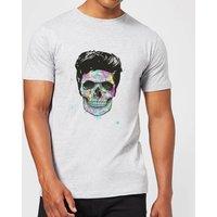 Balazs Solti Colourful Skull Mens T-Shirt - Grey - XXL - Grey