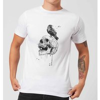 Balazs Solti Skull And Crow Mens T-Shirt - White - 4XL - White