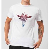 Balazs Solti Skulls And Flowers Men's T-Shirt - White - XXL - White