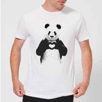 Balazs Solti Panda Love Mens T-Shirt - White - 5XL - White