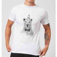Balazs Solti Party Lion Mens T-Shirt - White - 3XL - White