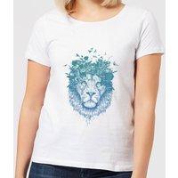 Balazs Solti Lion And Butterflies Women's T-Shirt - White - XL - White