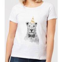Balazs Solti Party Lion Women's T-Shirt - White - S - White