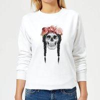 Skull And Flowers Women's Sweatshirt - White - S - White