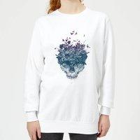 Skulls And Flowers Women's Sweatshirt - White - XXL - White - White Gifts