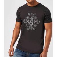 Avengers Distressed Metal Icon Men's T-Shirt - Black - 5XL - Black