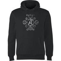 Avengers Distressed Metal Icon Hoodie - Black - S - Black