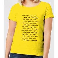 Florent Bodart Fish In Geometric Pattern Women's T-Shirt - Yellow - XL - Yellow